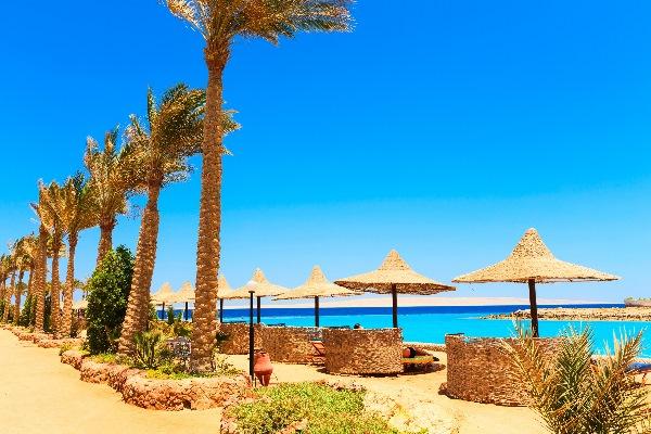 Blick auf den Strand von El Gouna in Ägypten mit Palmen und Sonnenschirmen im Vordergrund sowie dem Roten Meer im Hintergrund
