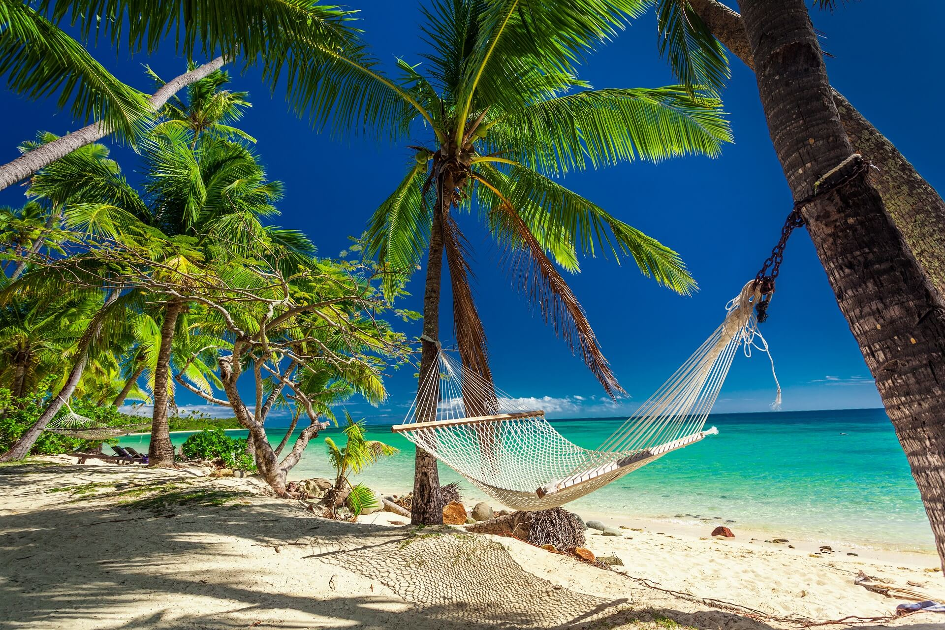 Eine Hängematte am Strand auf den Fidschi Inseln