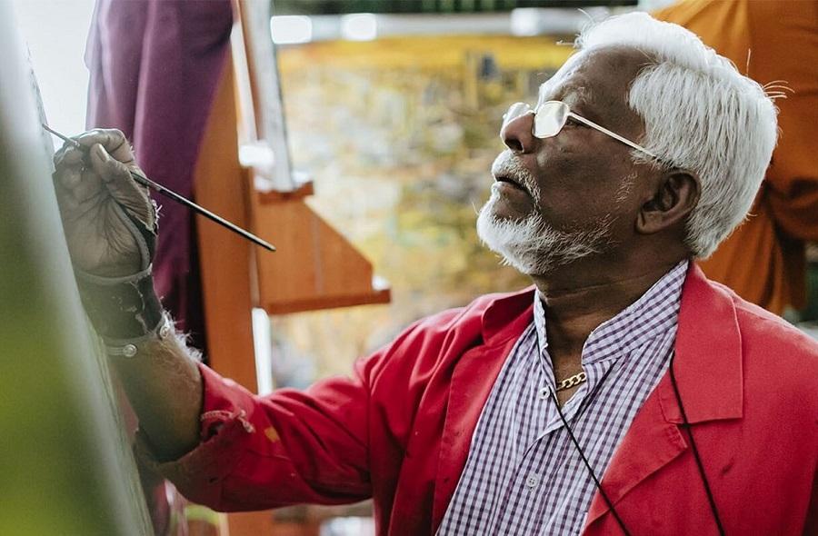 Ein Künstler bei seiner Arbeit