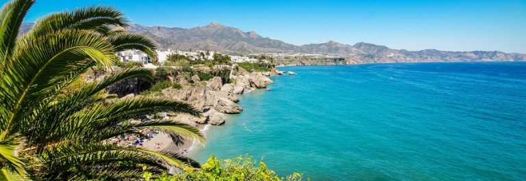 Nerja beach, famous touristic town, costa del sol, Málaga, Spain.