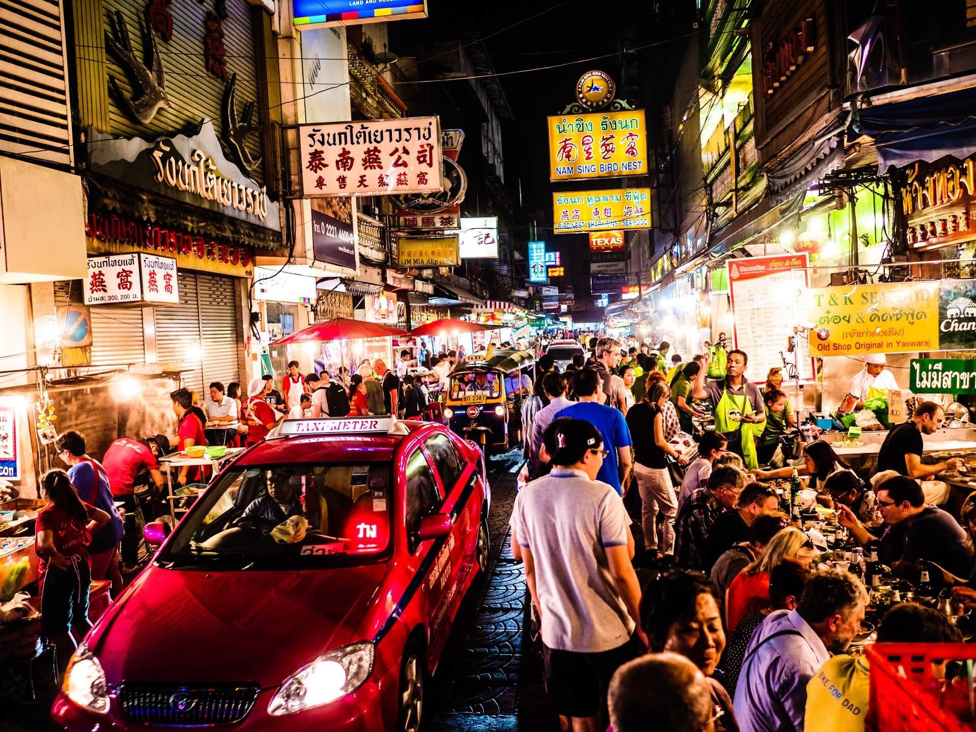 Chinatown in Bangkok ist zu jeder Tageszeit sehr belebt