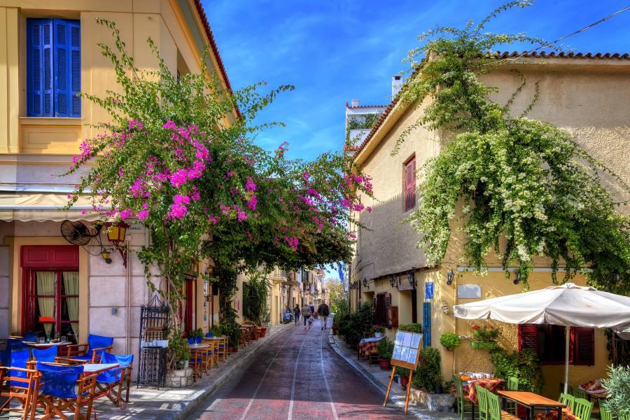 malerische Gasse in Plaka, Altstadt von Athen