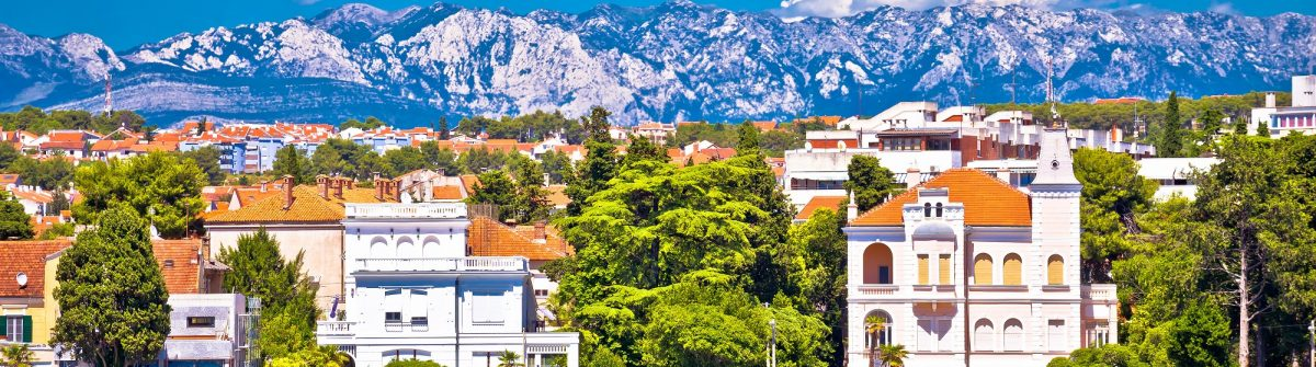 Zadar coast villas ann Velebit mountain background, Dalmatia, Croatia
