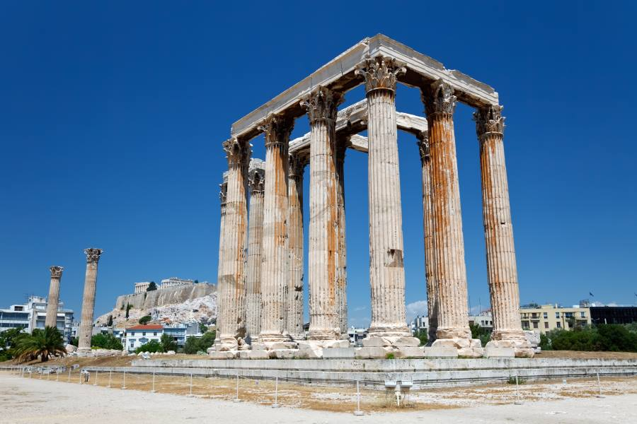 Ruinen des Olympieion in Athen, griechenland