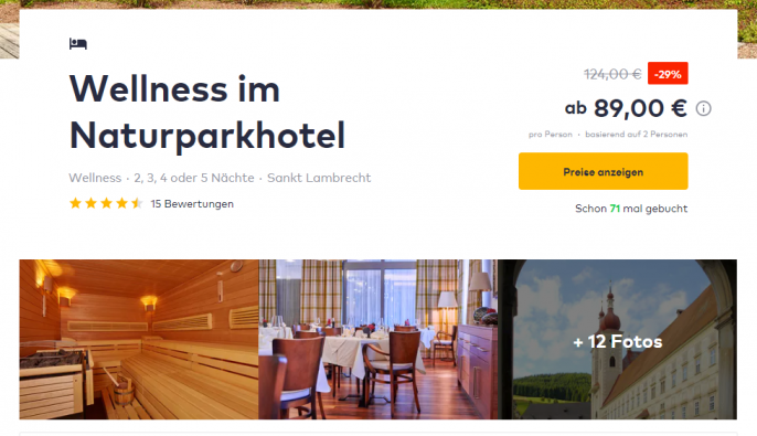 steiermark 3 4 tage im 4 hotel inkl hp massage spa um 89. Black Bedroom Furniture Sets. Home Design Ideas