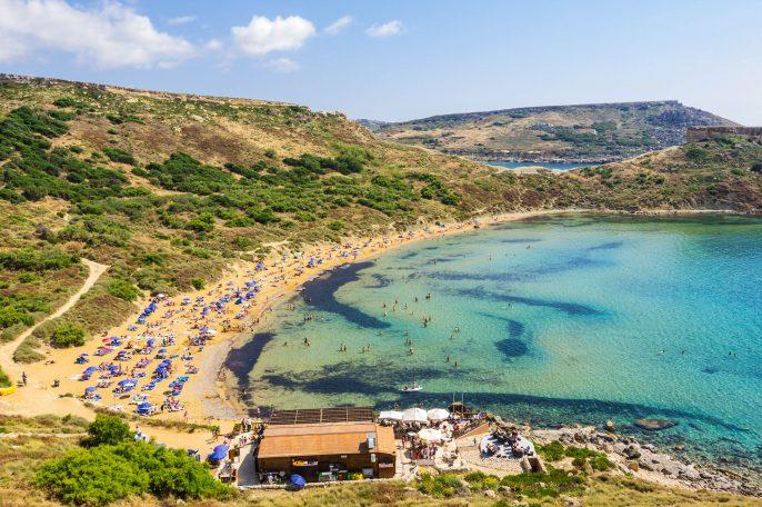 Golden bay Ghajn Tuffieha beach on Malta