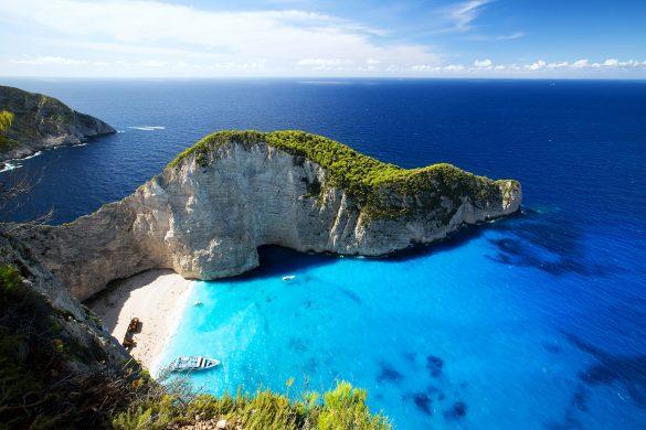 Die Schmugglerbucht Navagio Beach auf Zakynthos in Griechenland