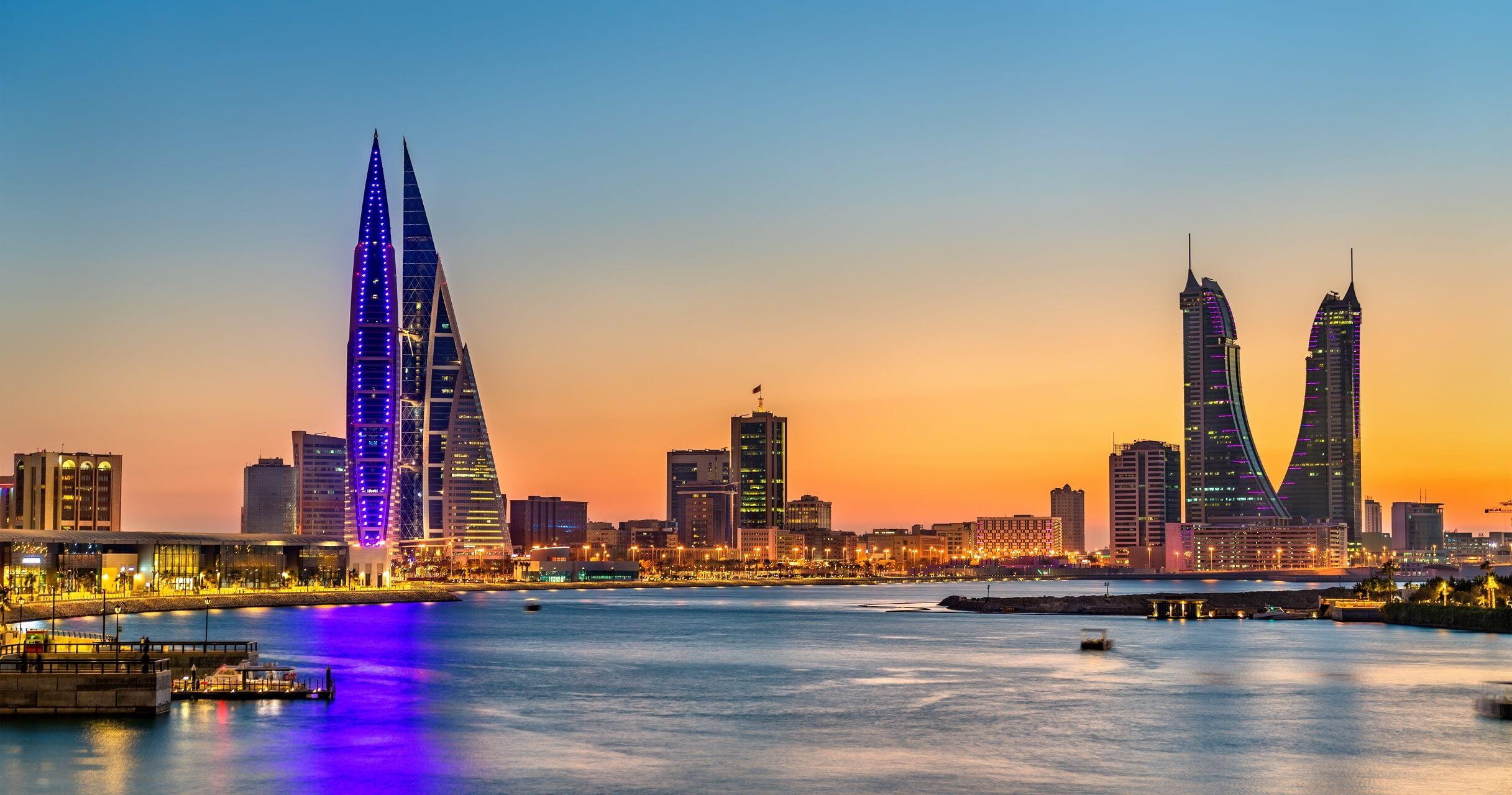 Die Skyline vom Königreich Bahrain