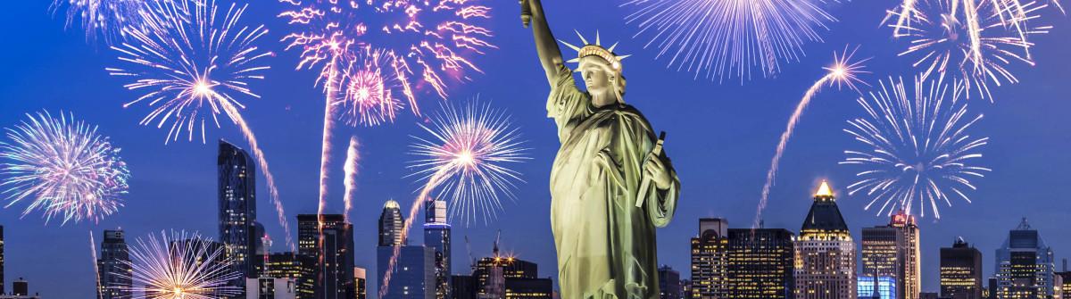 Silvester in New York an der Freiheitsstatue