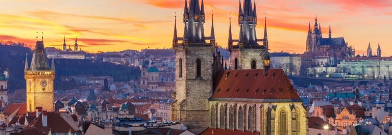 Aerial view over Old Town at sunset, Prague