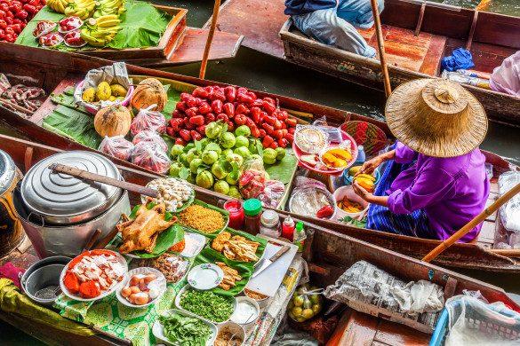 Schwimmende Märkte Thailand Obst Gemüse