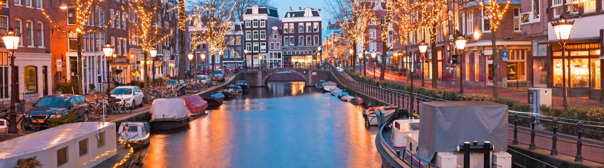 Christmas time in Amsterdam the Netherlands at dusk