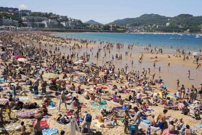 San Sebastian crowded beach Spain