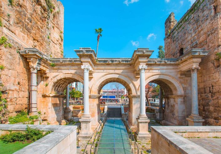 View-of-Hadrians-Gate-in-old-city-of-Antalya-Turkey-shutterstock_541827706