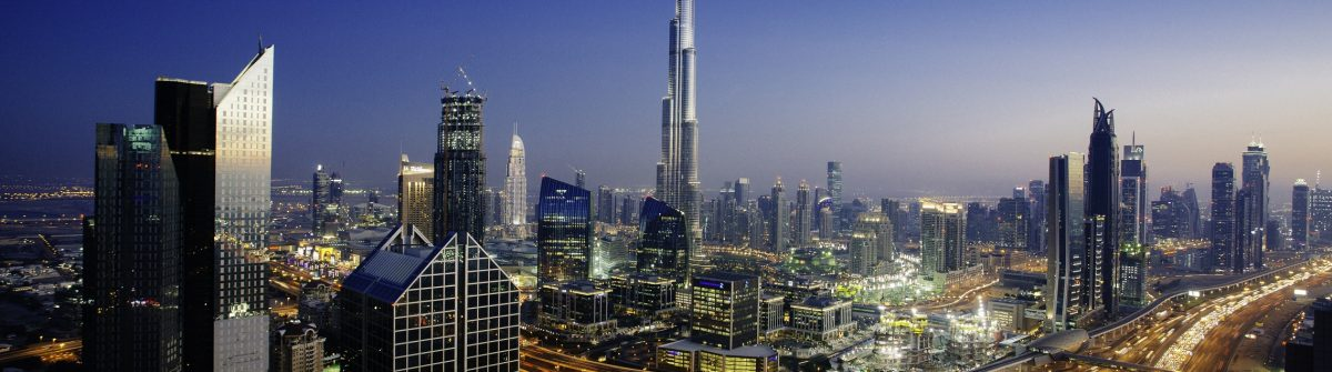 Dubai sky line with traffic junction and Burj Khalifa