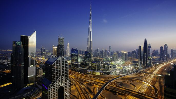 Dubai sky line with traffic junction and Burj Khalifa