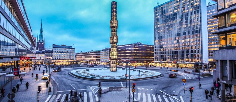 Sergels Torg with glass Obelisk Kristallvertikalacc in Stockholm