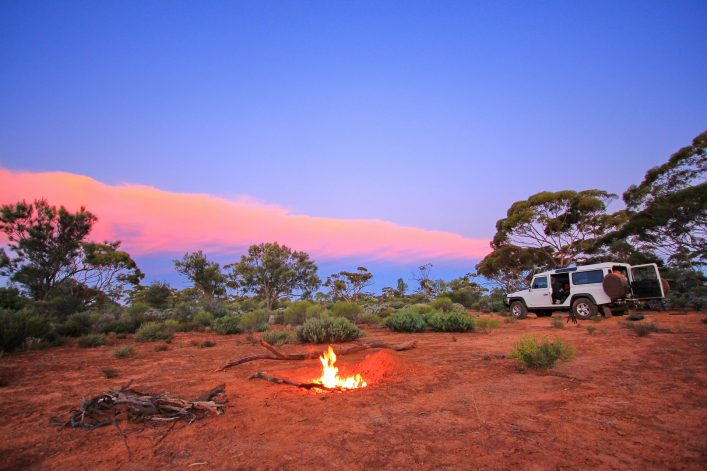 Evening fire in Australian outback