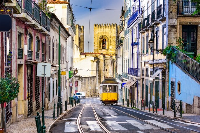 Die Straßenbahn in Lissabon
