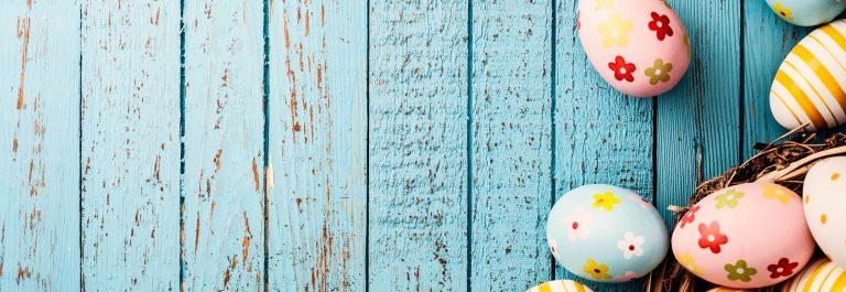 Easter Eggs on Old Blue Wood – Season Background Frame