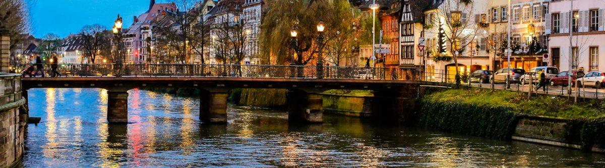 Strasbourg bridge in sunset