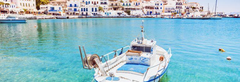 Batsi town, Andros island, Greece