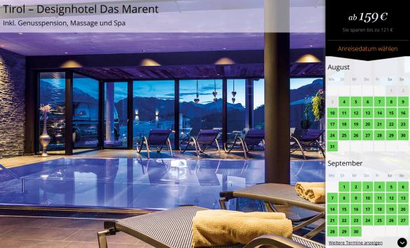 3 tage designhotel das marent mit genusspension um 159 for Tirol designhotel