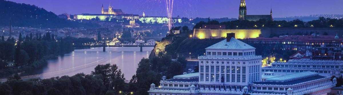 nice view on fireworks at Prague
