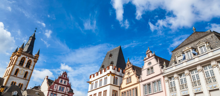 Historic houses in Trier market square, Germany